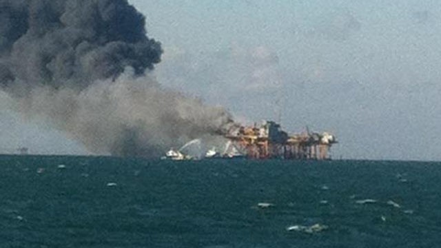PHOTO: The US Coast Guard confirms that a rig explosion occurred in West Cote Blanche in the Gulf of Mexico, Nov. 16, 2012.