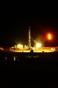 Drillers flare natural gas from a North Dakota oil well. Credit - D. Manthos, SkyTruth
