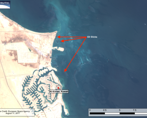 Sentinel-2 multispectral satellite image showing oil slick making landfall along Kuwait's coast near Al Khiran on August 11, 2017. Image courtesy of European Space Agency.