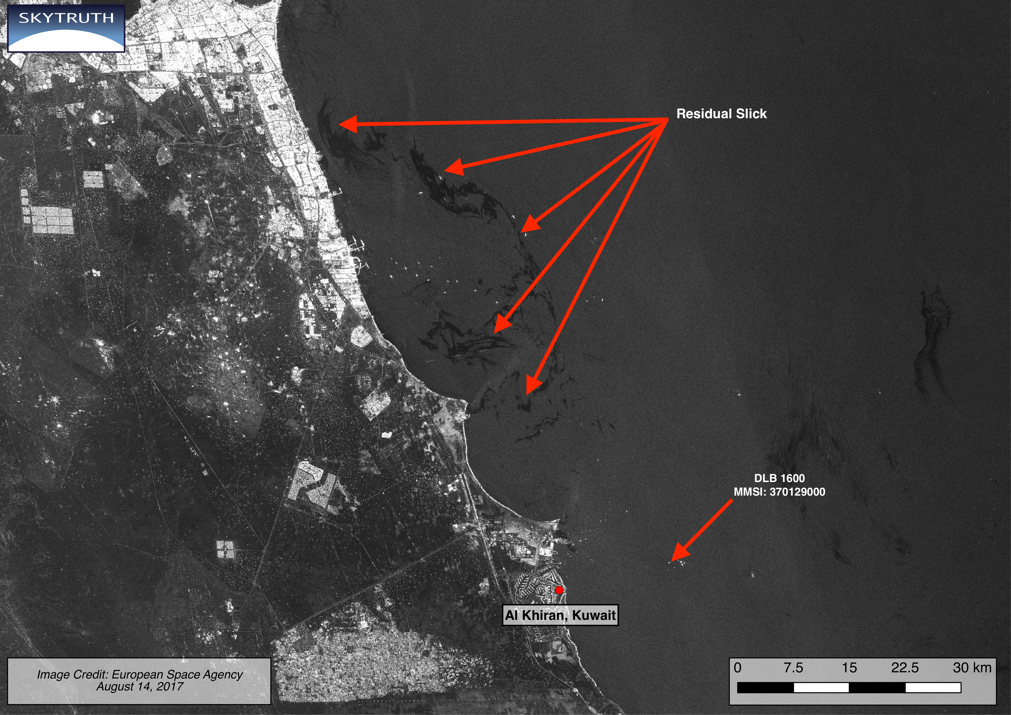 Sentinel-1 radar satellite image taken on August 14, 2017, showing remnants of oil slick off Kuwait. Location of pipelay vessel DLB 1600 is indicated. Vessel has moved several kilometers to the east compared to position on August 10. Image courtesy of the European Space Agency.