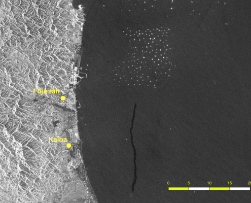 """The remnants of a likely bilge dump (dark streak) possibly from a vessel traveling north to a tanker """"parking lot"""" (the cluster of dozens of bright spots, each representing a vessel at anchor) off the coast of United Arab Emirates."""